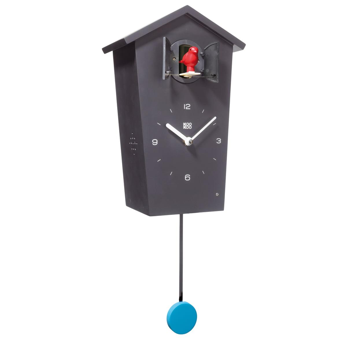KooKoo - Bird House Kuckucksuhr, schwarz | Dekoration > Uhren > Kuckucksuhren | Schwarz | Mdf -  matt lackiert | KooKoo