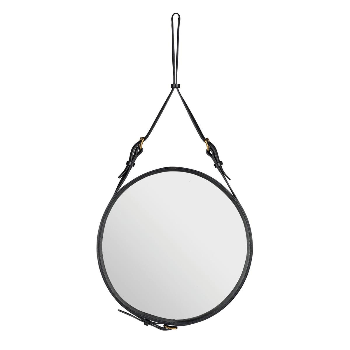 Gubi - Adnet Spiegel Ø 58 cm, schwarz | Flur & Diele > Spiegel | Basic dark | Holz -  metall -  leder und verspiegeltes glas | Gubi