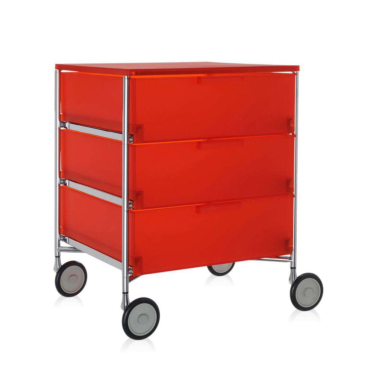 Kartell - Mobil Container - mit Rollen, 3 Schubladen, dunkelorange | Büro > Büroschränke | Orange | Verchromtes stahlrohr -  pmma | Kartell