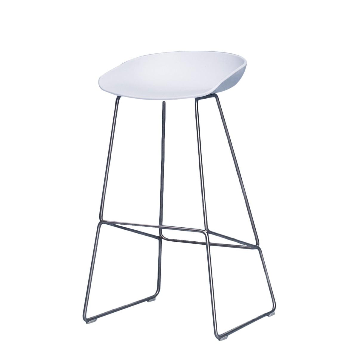 Hay - About A Stool AAS 38 Barhocker H 85, Edelstahl / weiß | Küche und Esszimmer > Bar-Möbel | Weiß | Hay