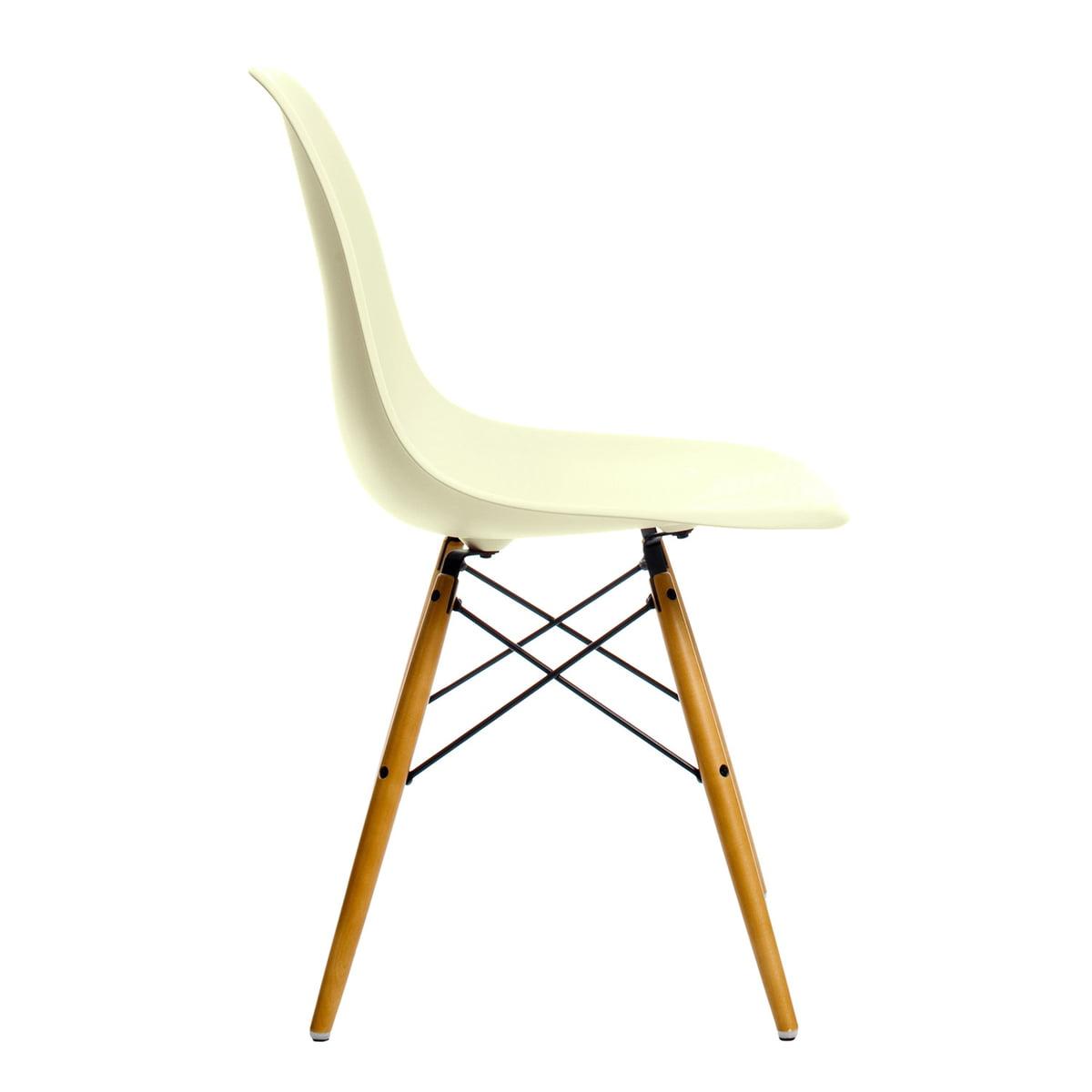 Vitra - Eames Plastic Side Chair DSW, Ahorn gelblich / créme (Kunststoffgleiter weiß)   Küche und Esszimmer > Stühle und Hocker   Vitra