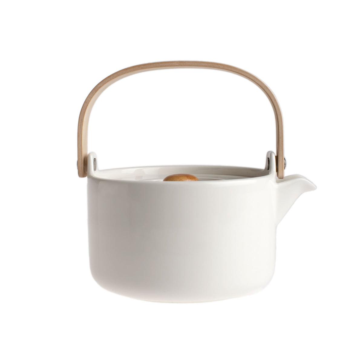 Marimekko - Oiva Teekanne, weiß   Küche und Esszimmer > Kaffee und Tee   Weiß   Steinzeug -  holz   marimekko
