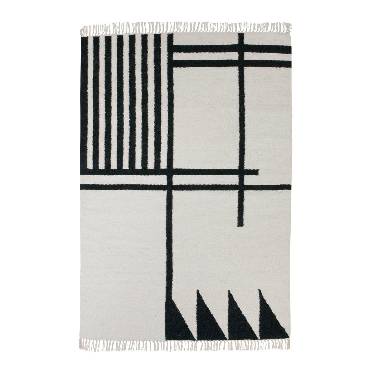 Kelim rug teppich black lines gross