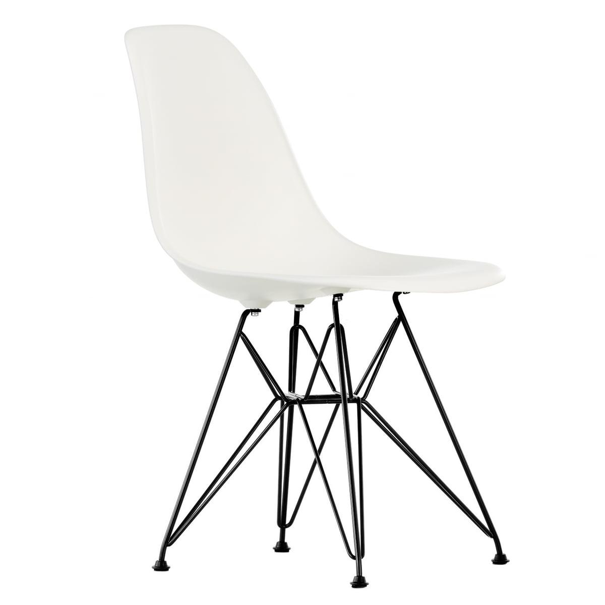 Vitra - Eames Plastic Side Chair DSR (H 43 cm), basic dark / weiß, Kunststoffgleiter basic dark | Küche und Esszimmer > Stühle und Hocker > Esszimmerstühle | Weiß | Vitra
