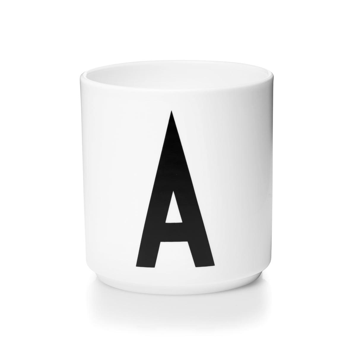 Design letters aj porzellan becher a
