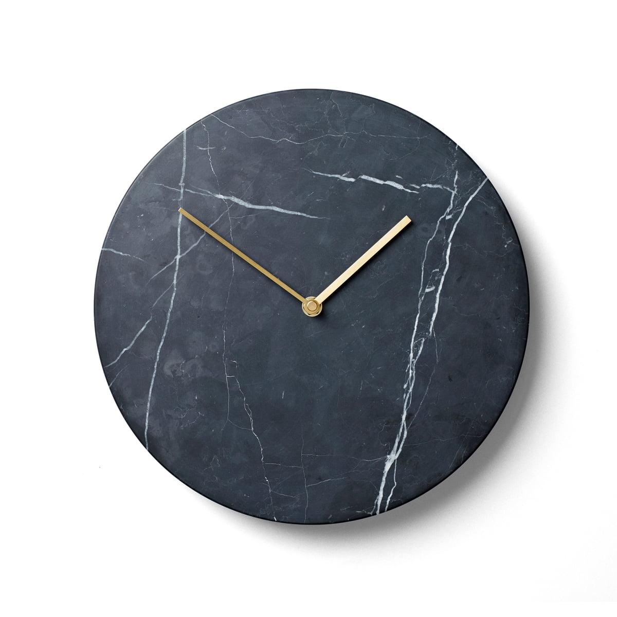 Menu marble wanduhr schwarz