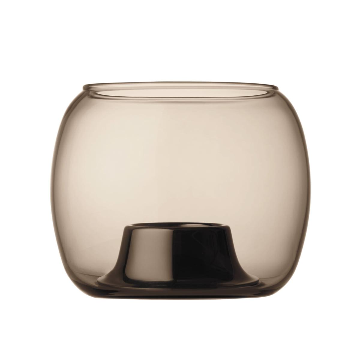 Iittala - Kaasa Teelichthalter 141 x 115 mm, sand | Dekoration > Kerzen und Kerzenständer > Kerzenständer | Sand | Edelstahleinsatz poliert -  mundegblasenes glas| glas (mundgeblasen) | Iittala
