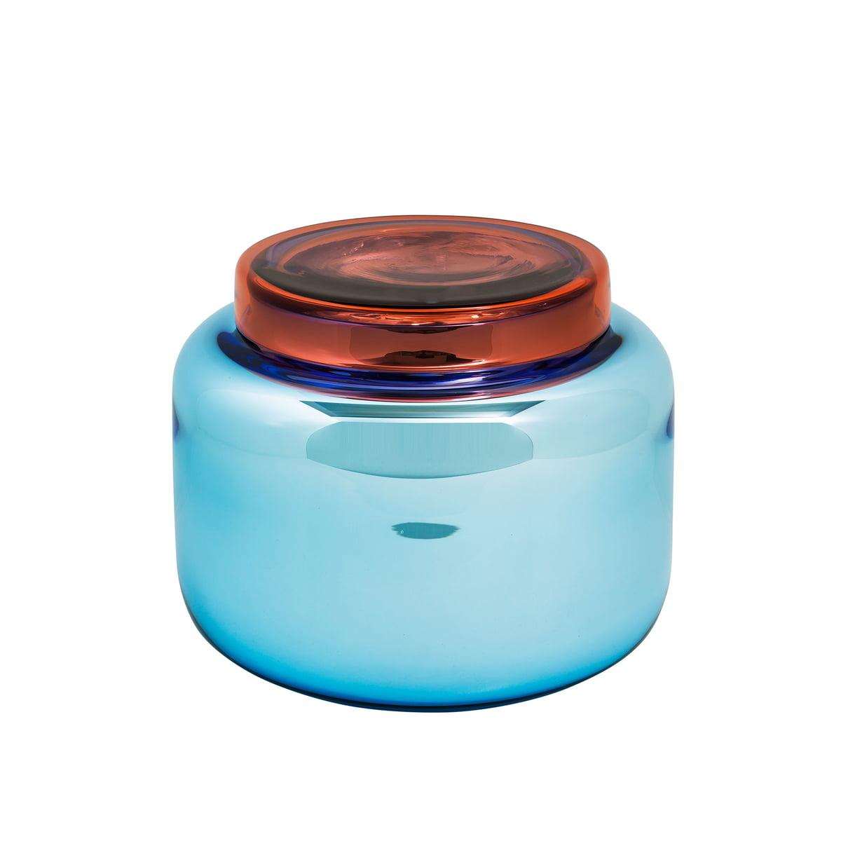 Pulpo - Low Container, blau versilbert / Deckel rot | Büro > Büroschränke > Container | Pulpo