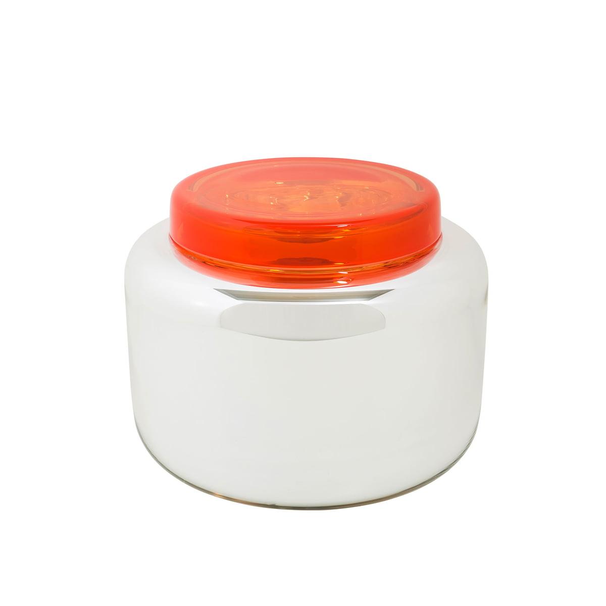 Pulpo - Low Container, silber / Deckel rot   Büro > Büroschränke > Container   Silber   Glas (mundgeblasen -  doppelwandig gefärbt & versilbert)   Pulpo