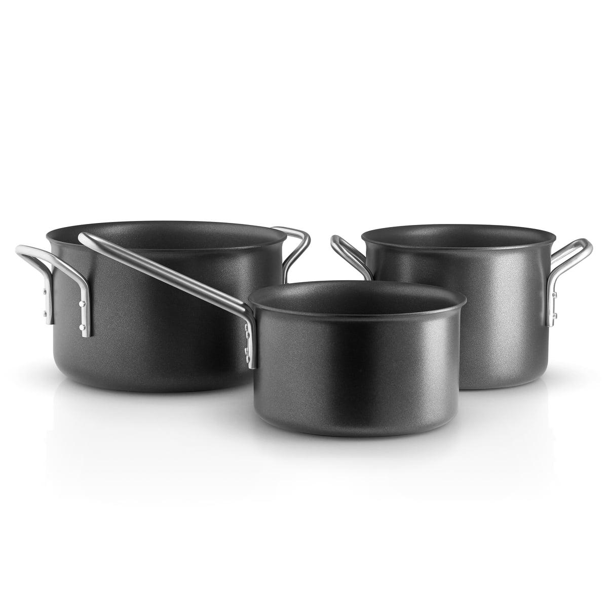 Eva Solo Eva Trio - Black Line Topfset, 3-teilig | Küche und Esszimmer > Kochen und Backen > Töpfe | Schwarz | Eva Solo