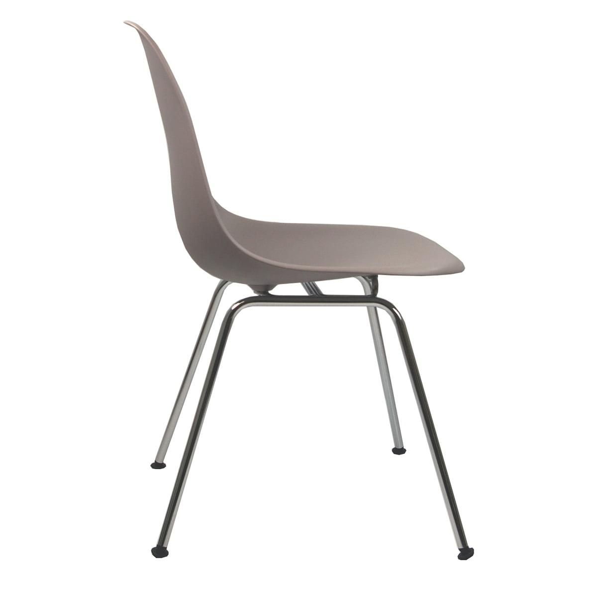 Vitra - Eames Plastic Side Chair DSX (H 43 cm), verchromt / mauve grau, Kunststoffgleiter basic dark (Teppichboden) | Küche und Esszimmer > Stühle und Hocker > Esszimmerstühle | Mauve | Vitra
