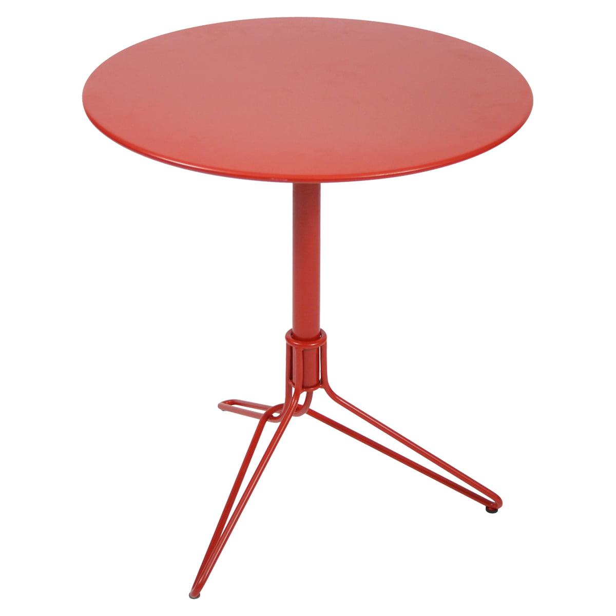 Fermob - Flower Bistrotisch, rund, Ø 67 cm, mohnrot | Küche und Esszimmer > Bar-Möbel > Bar-Stehtische | Mohnrot | Tischplatte aus stahlblech mit uv-beständigem pulverlack | fermob