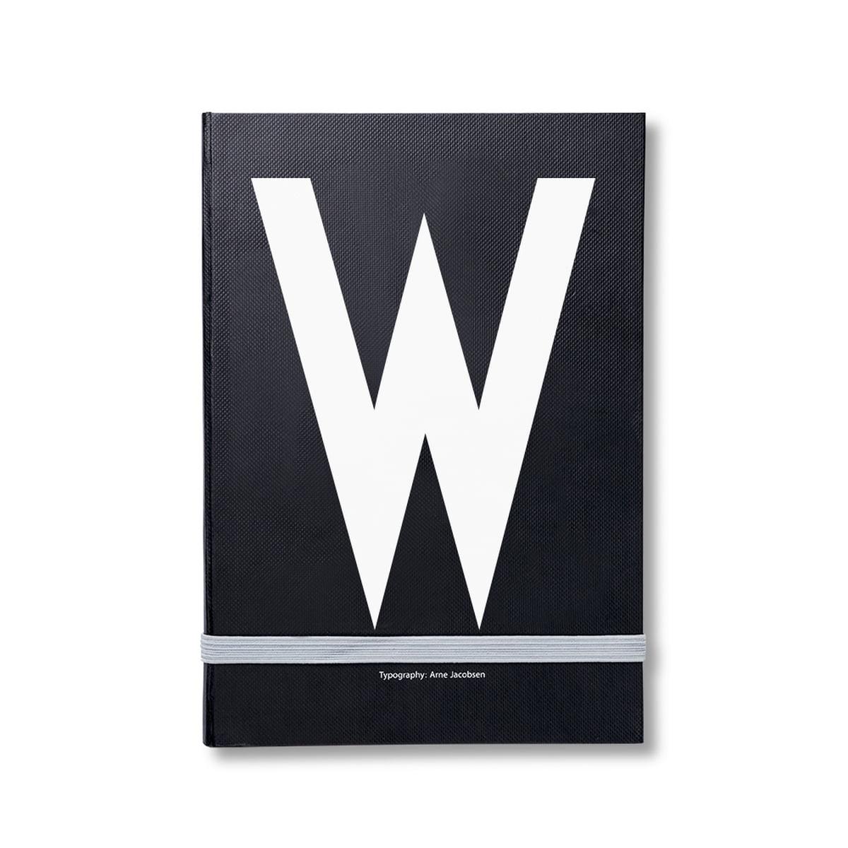 Design Letters - Personal Notizbuch von A-Z, W | Dekoration > Accessoires | Schwarz | 80g papier | Design Letters
