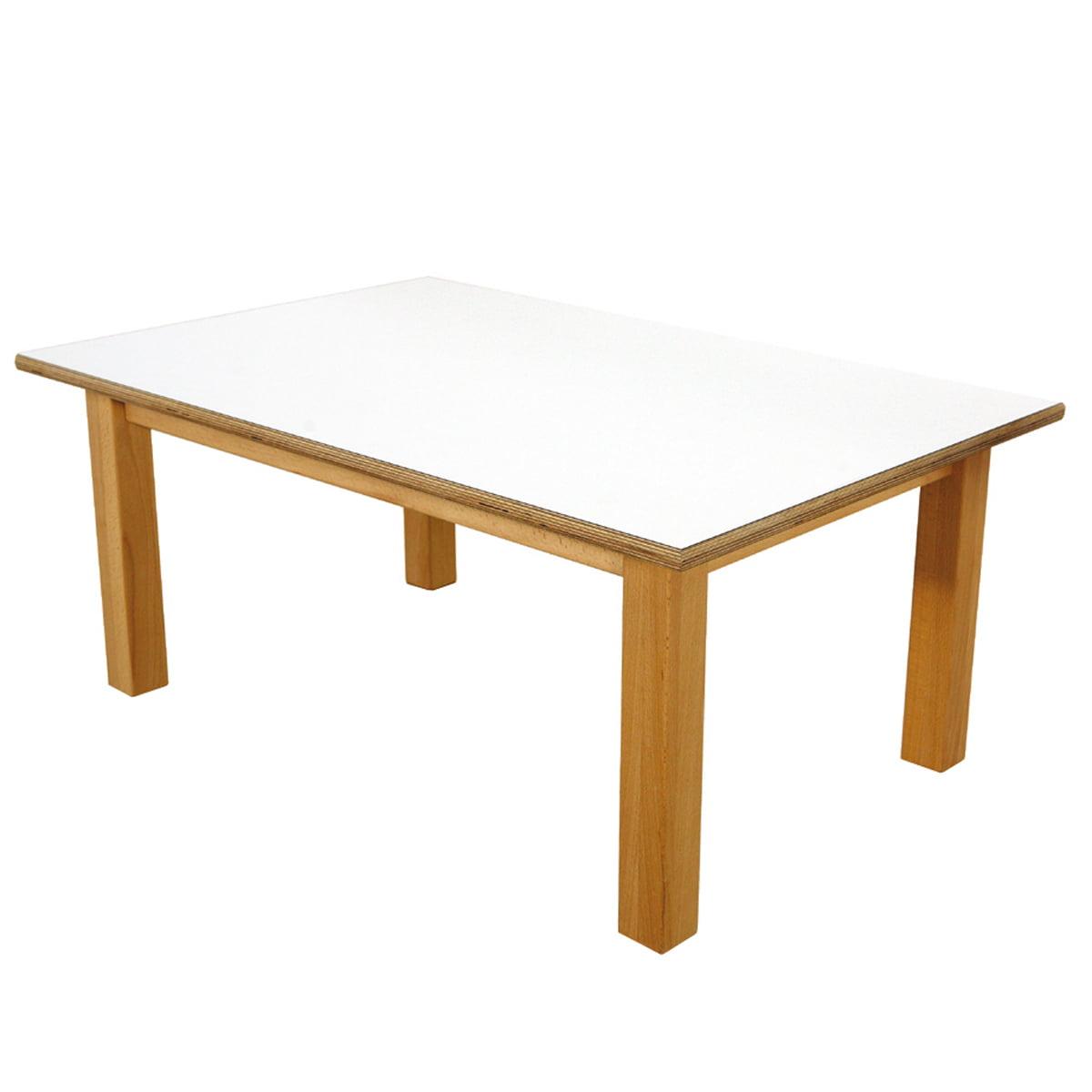 De Breuyn - debe.detail Kindertisch 60 x 90 cm, weiß | Kinderzimmer > Kindertische > Spieltische | Weiß | Tischplatte: 18mm schichtholzplatte -  beidseitig mit weißem hpl belegt -  tischgestell: buche massiv -  geölt | De Breuyn