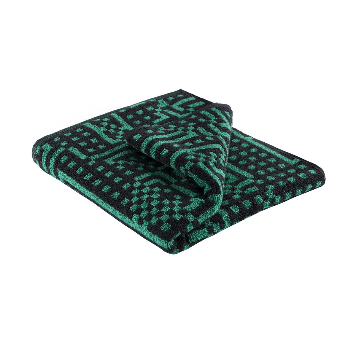 Zuzunaga - Route Black and Green Handtuch, 50 × 100 cm | Bad > Handtücher | Grün | Zuzunaga