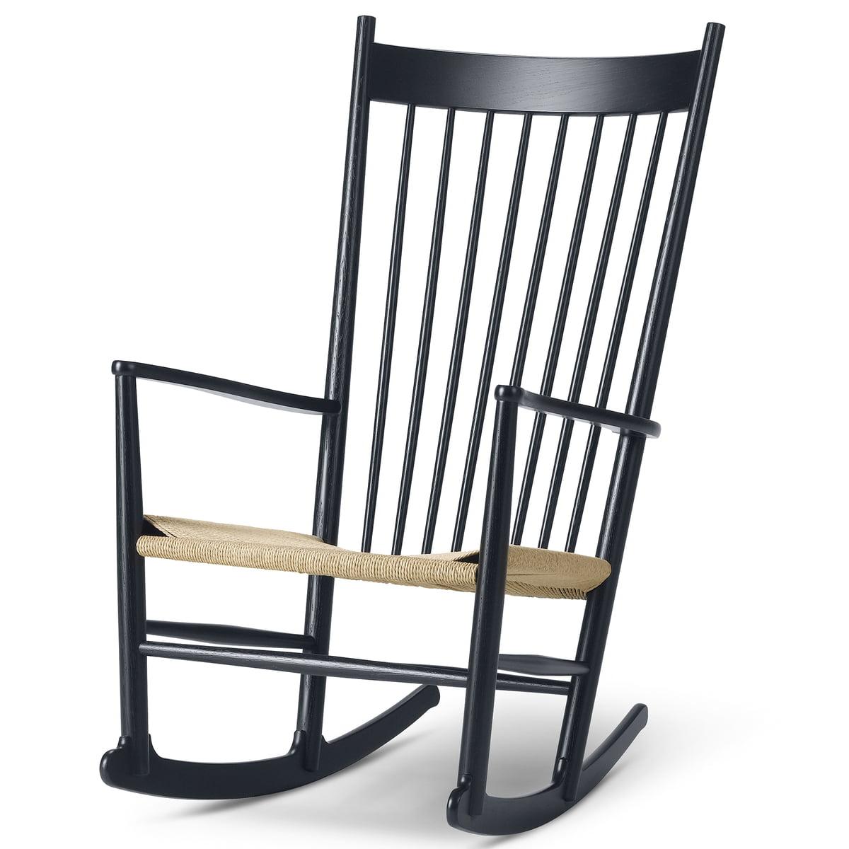Fredericia Furniture Fredericia - J16 Schaukelstuhl, Eiche schwarz lackiert / natur | Wohnzimmer > Stüle | Eiche lackiert -  schwarz | Fredericia Furniture