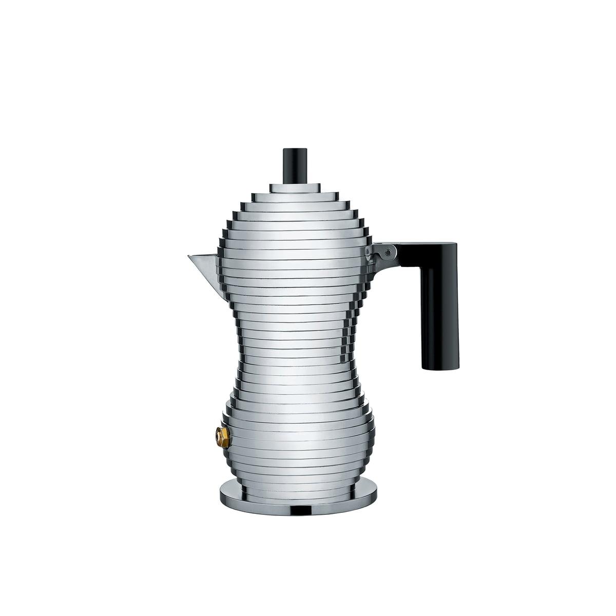 Alessi - Pulcina Espressokocher, 7 cl, schwarz | Küche und Esszimmer > Kaffee und Tee | Aluminium | Gußaluminium -  griff und knopf aus polyamide | Alessi