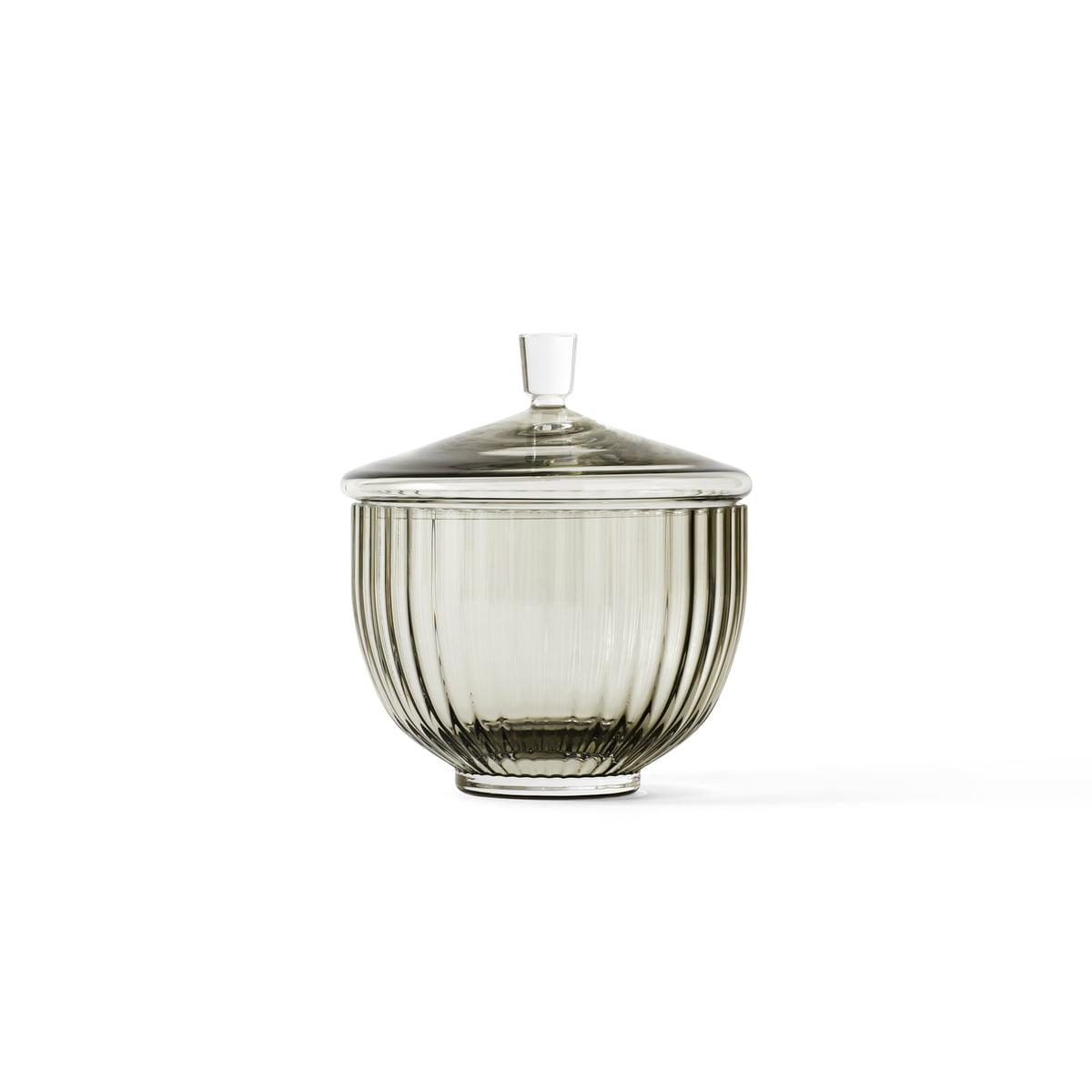 Lyngby porzellan bonbonniere glass 10cm smoke frei