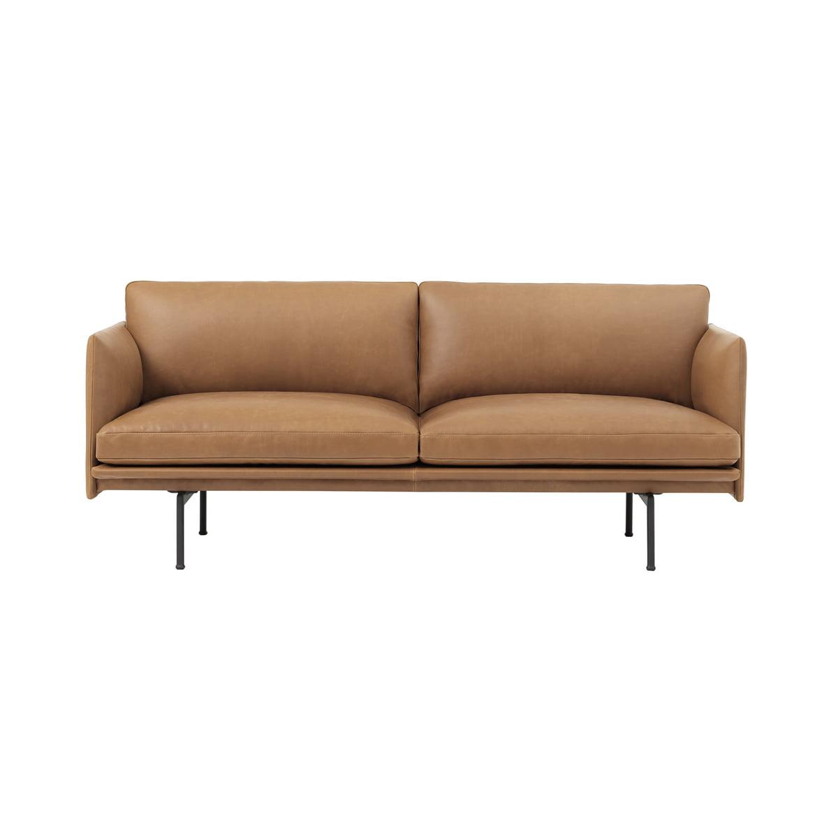 Muuto outline sofa 2 sitzer cognac silk leather verkehrsschwarz frei