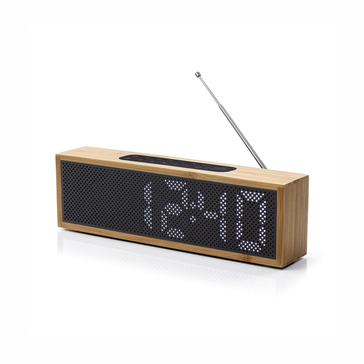 Lexon - Titanium Radio-Wecker, schwarz / Bambus   Dekoration > Uhren > Wecker   Bambus natur   Bambus -  abs -  gummi   Lexon