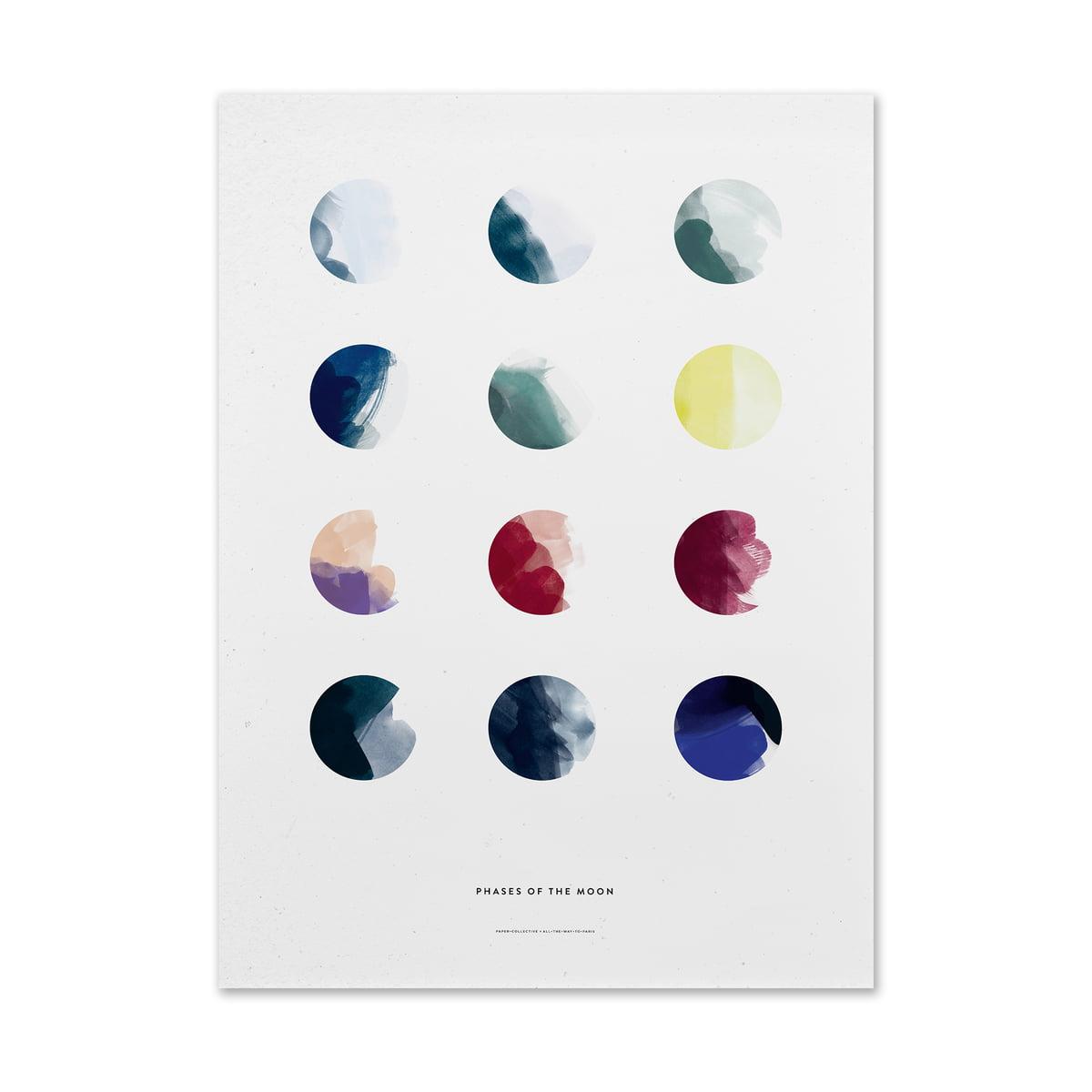 Paper Collective - Moon Phases, 50 x 70 cm | Dekoration > Bilder und Rahmen | Mehrfarbig | Paper Collective