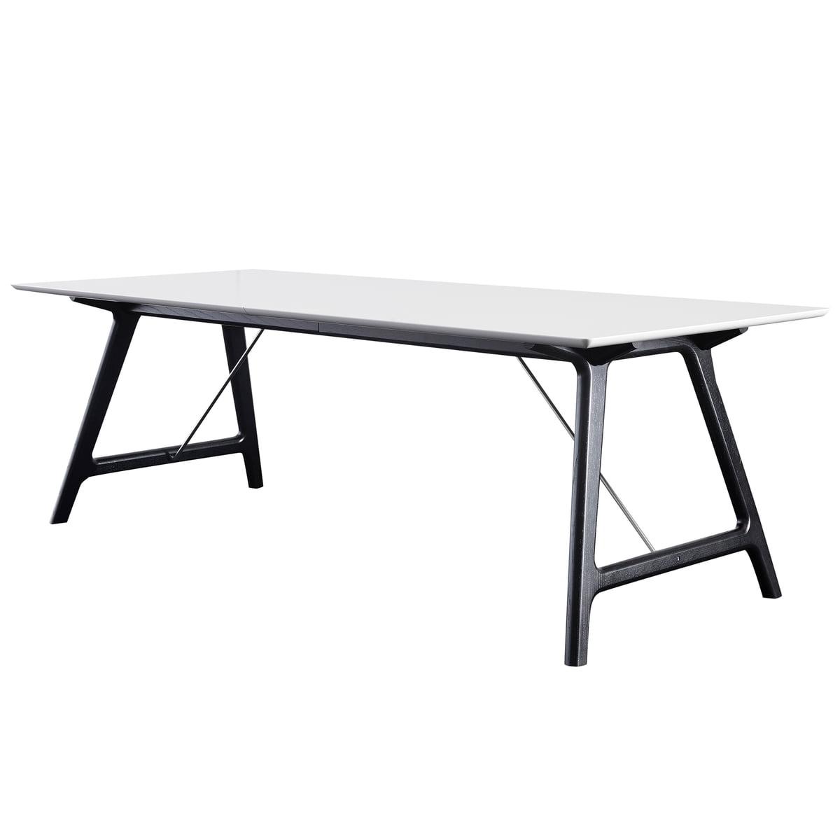Andersen Furniture - T7 Ausziehtisch 220 cm, Eiche schwarz / Laminat weiß   Baumarkt > Bodenbeläge > Laminat   Weiß   Untergestell: eiche massiv -  tischplatte: tischplatte 28 mm mdf mit hochdrucklaminat   Andersen Furniture