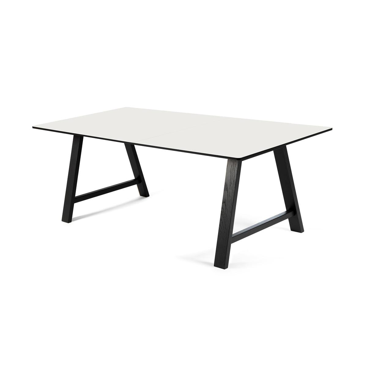 Andersen Furniture - T1 Ausziehtisch 160cm, Eiche schwarz / Laminat weiß | Baumarkt > Bodenbeläge | Schwarz/weiß | Andersen Furniture