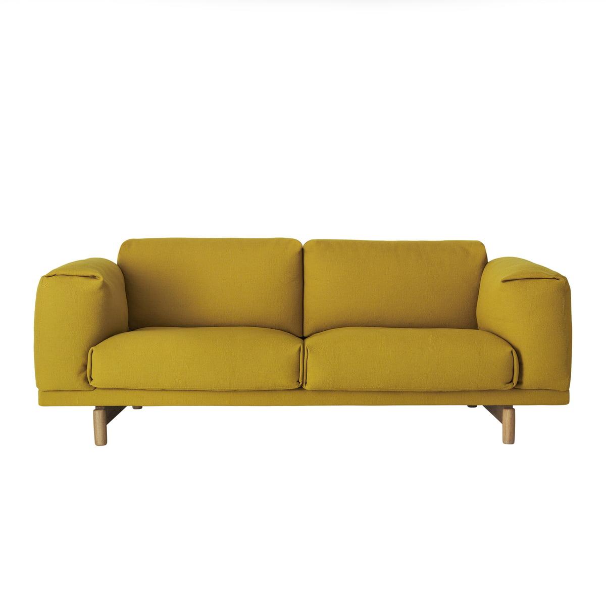 Muuto rest sofa 2 sitzer senfgelb hallingdal 457 eiche natur frei