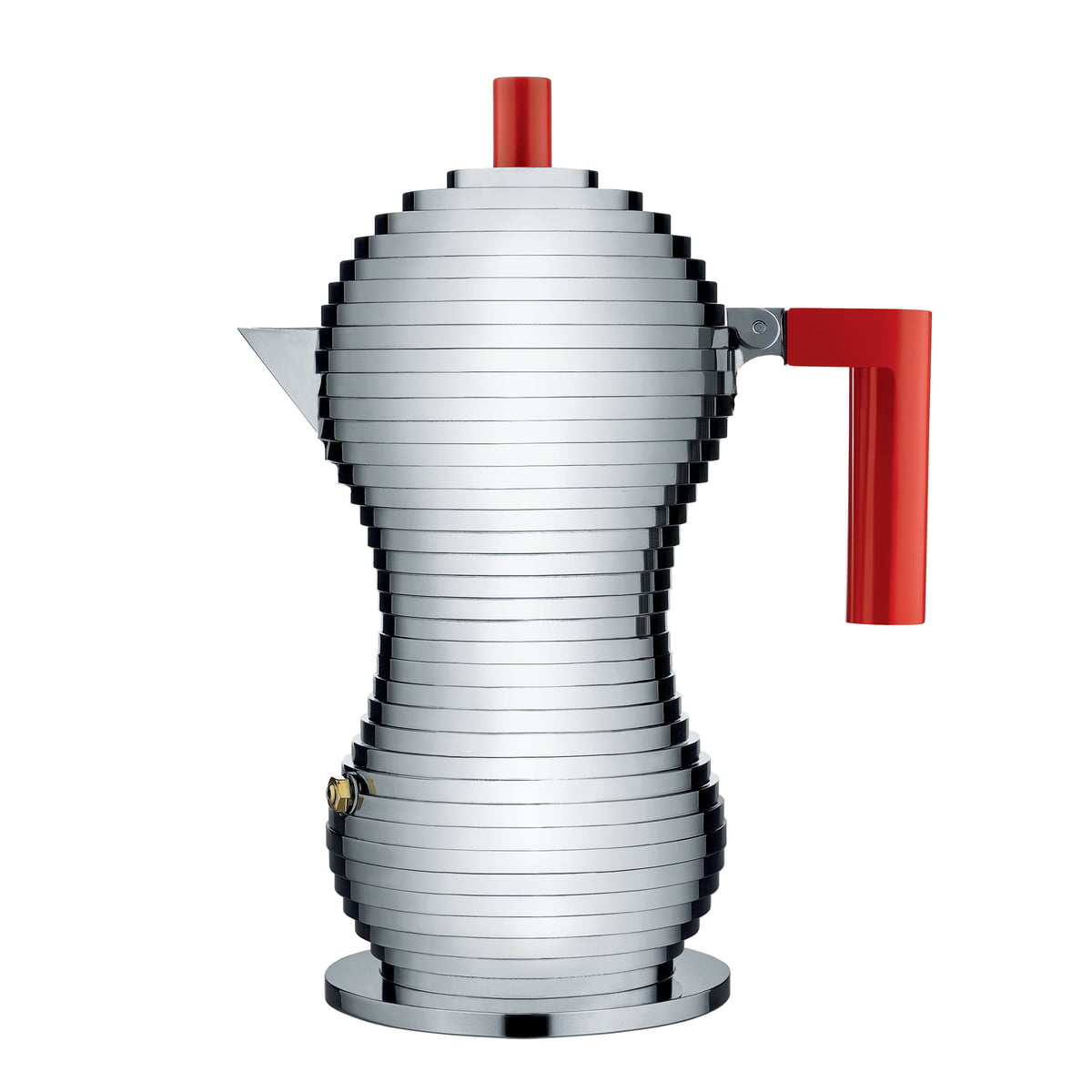 Alessi - Pulcina Espressokocher, 30 cl / rot | Küche und Esszimmer > Kaffee und Tee | Aluminium | Gußaluminium -  griff und knopf aus polyamide | Alessi