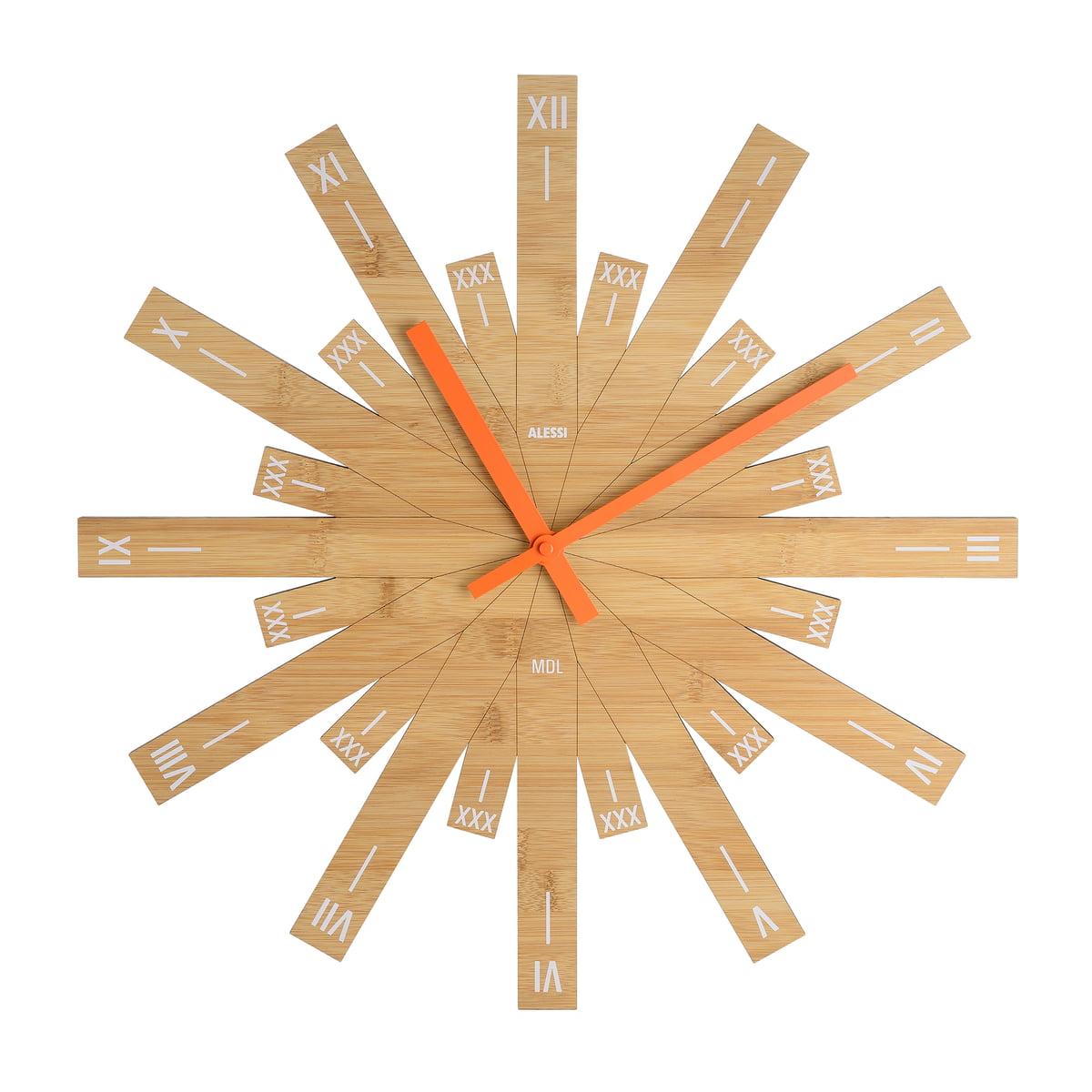 Alessi raggiante wanduhr bambusholz frei