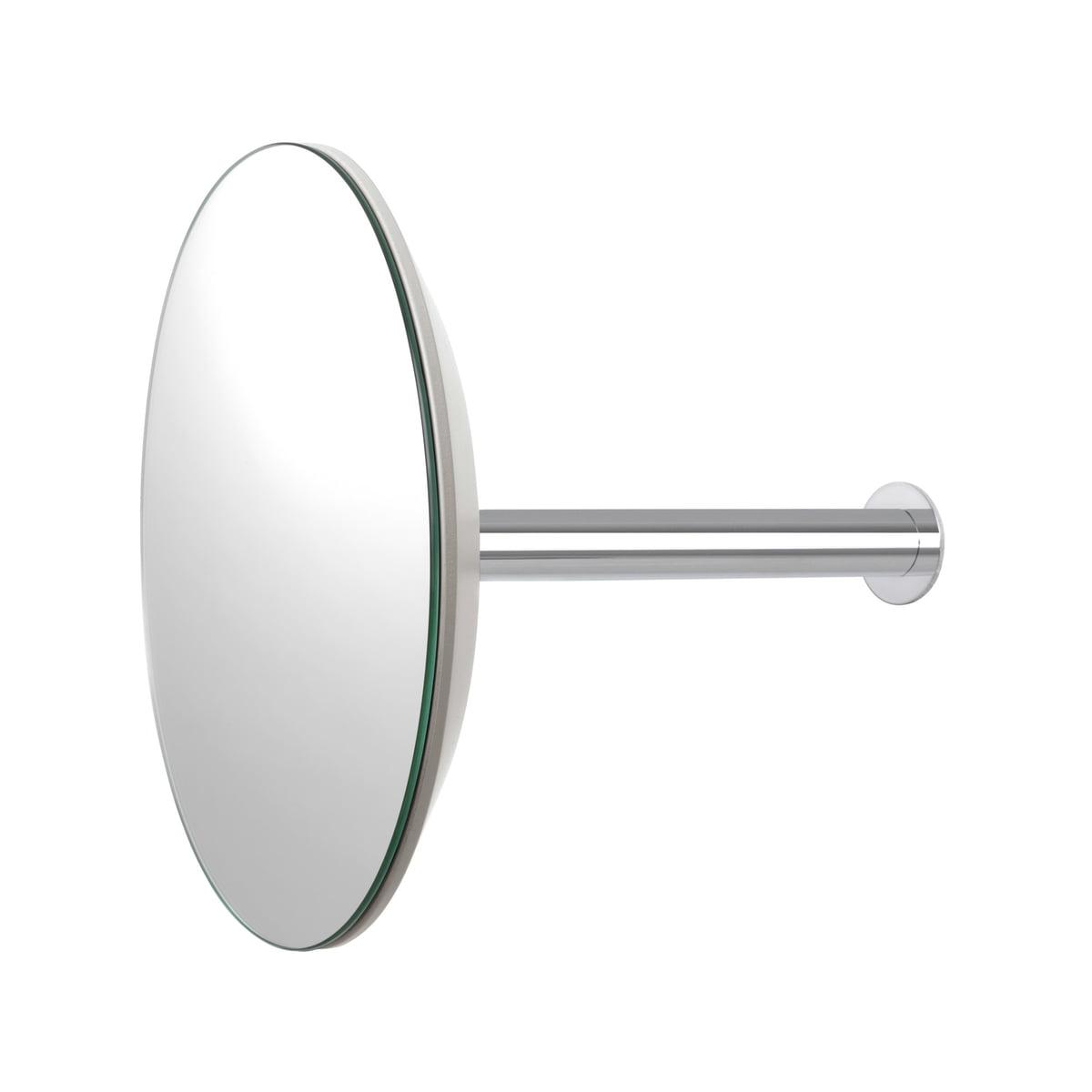 Schönbuch - Slot Wandgarderobe mit Spiegel Ø 24 cm, grau-weiß | Flur & Diele > Spiegel > Garderobenspiegel | Grauweiß | Hängebeschlag chrom glänzend | Schönbuch