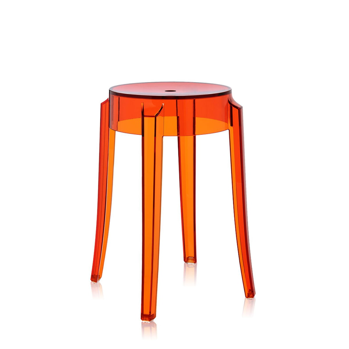 Kartell carls ghost hocker orange transluzent freisteller
