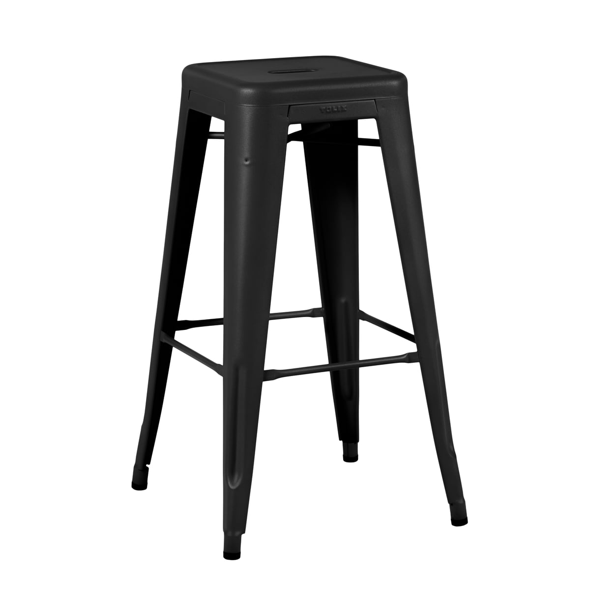 Tolix - H75 Hocker Indoor, schwarz matt | Wohnzimmer > Hocker & Poufs > Sitzhocker | Tiefschwarz (ral 9005) | Stahl | Tolix