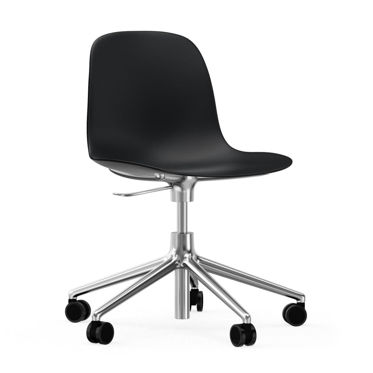 Normann Copenhagen - Form Bürodrehstuhl, Gestell Aluminium / schwarz | Büro > Bürostühle und Sessel  > Bürostühle | Schwarz | Normann Copenhagen