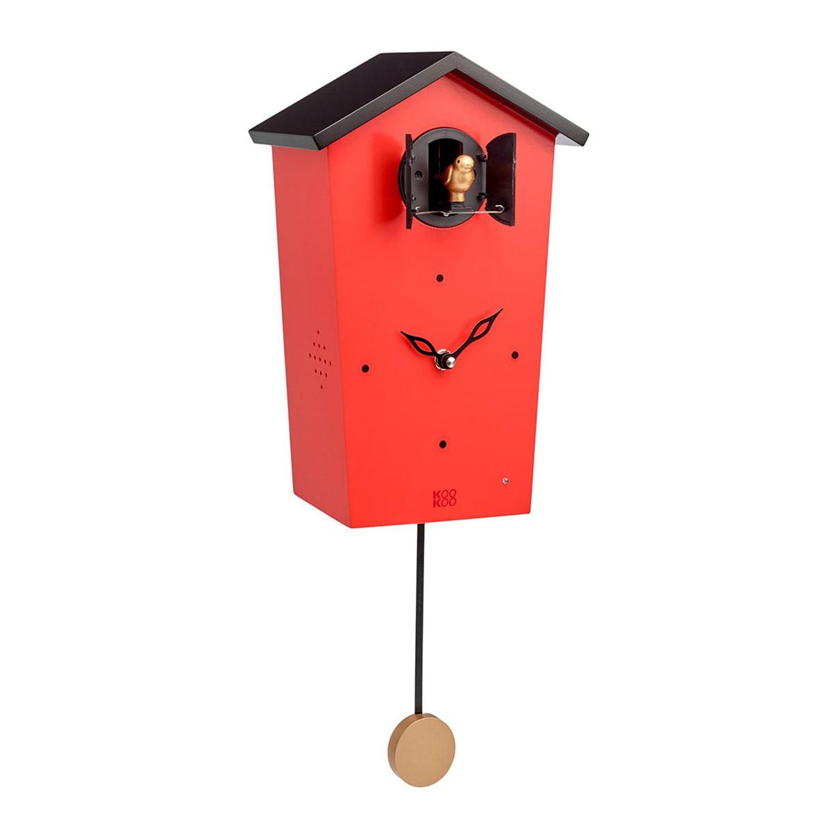 KooKoo - Bird House Kuckucksuhr, rot (Limited Edition) | Dekoration > Uhren > Kuckucksuhren | Rot | Mdf holz | KooKoo