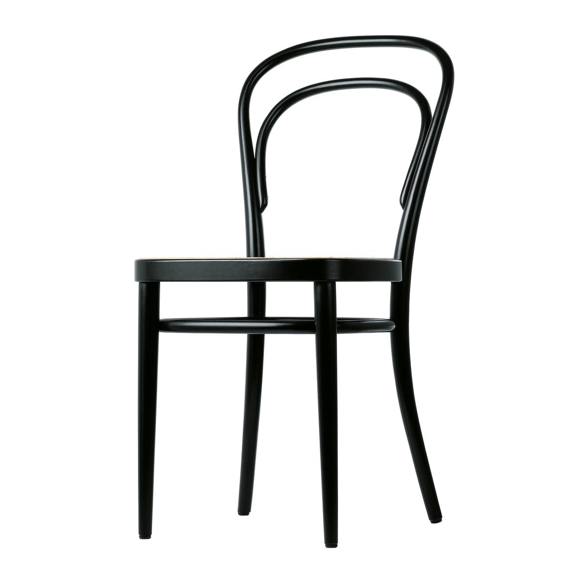Thonet - 214 Bugholzstuhl, Rohrgeflecht mit Kunststoffstützgewebe / Buche schwarz gebeizt (TP 29) | Küche und Esszimmer > Stühle und Hocker > Holzstühle | Schwarz | Thonet