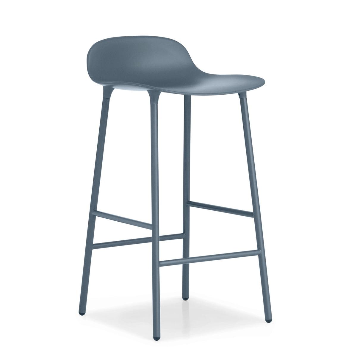 Normann Copenhagen - Form Barhocker H 65 cm, blau | Küche und Esszimmer > Bar-Möbel | Blau | Untergestell: stahl -  sitzschale: polypropylen | Normann Copenhagen