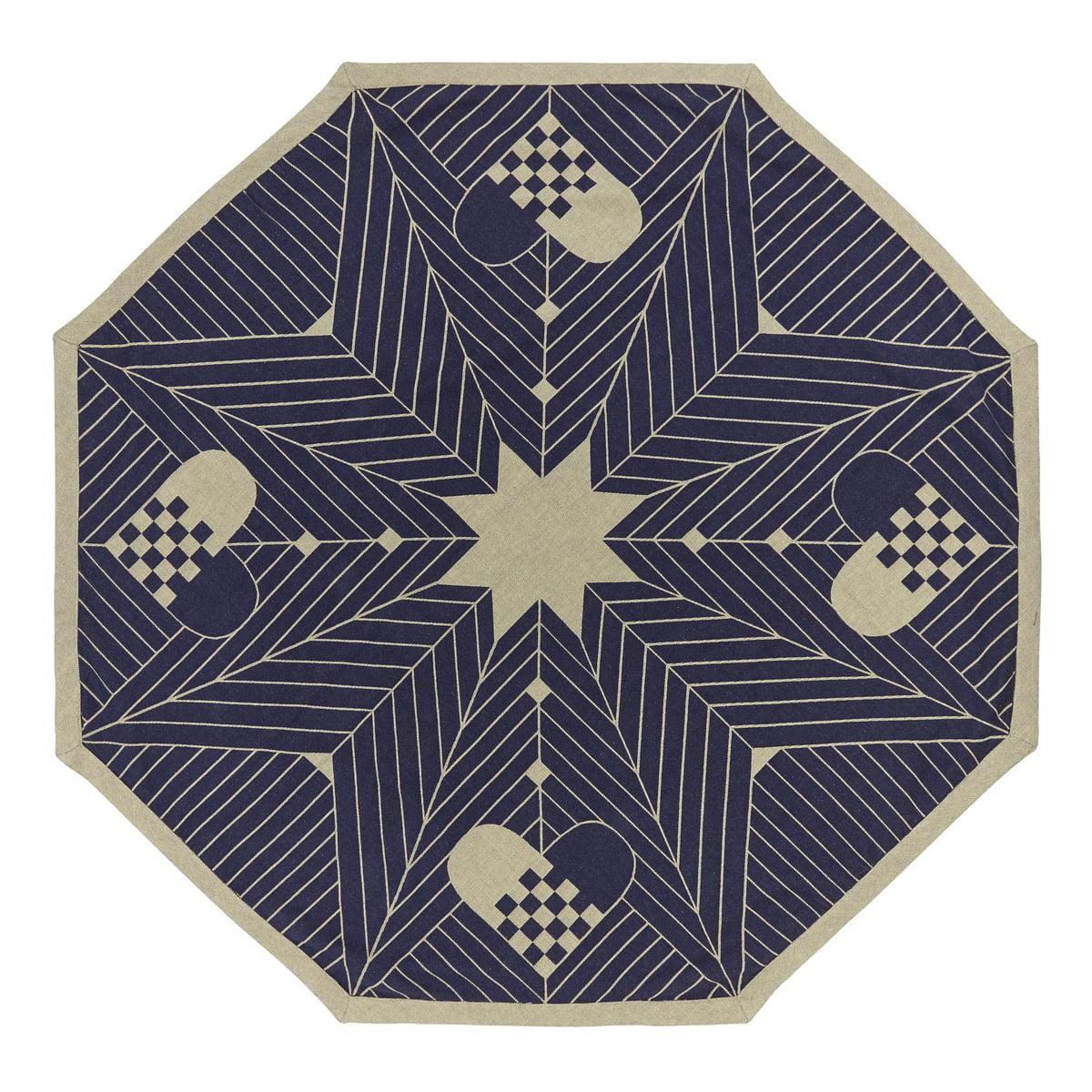 Georg jensen damask octagon weihnachtbaum teppich blau gold freisteller