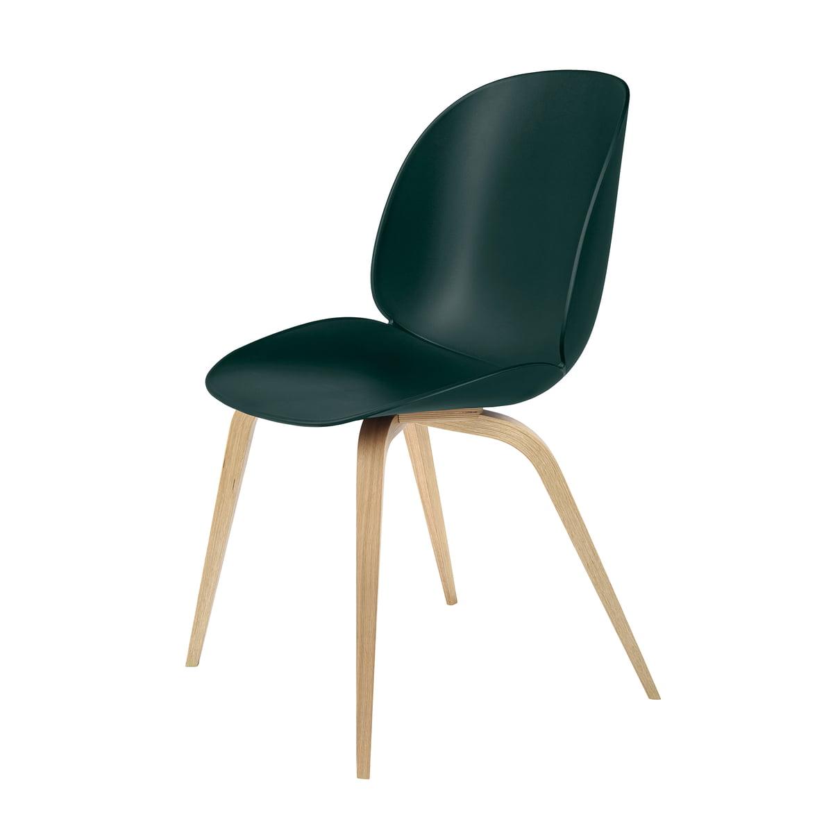Gubi - Beetle Dining Chair, Wood Base, Eiche / grün   Küche und Esszimmer > Stühle und Hocker   Grün   Gubi