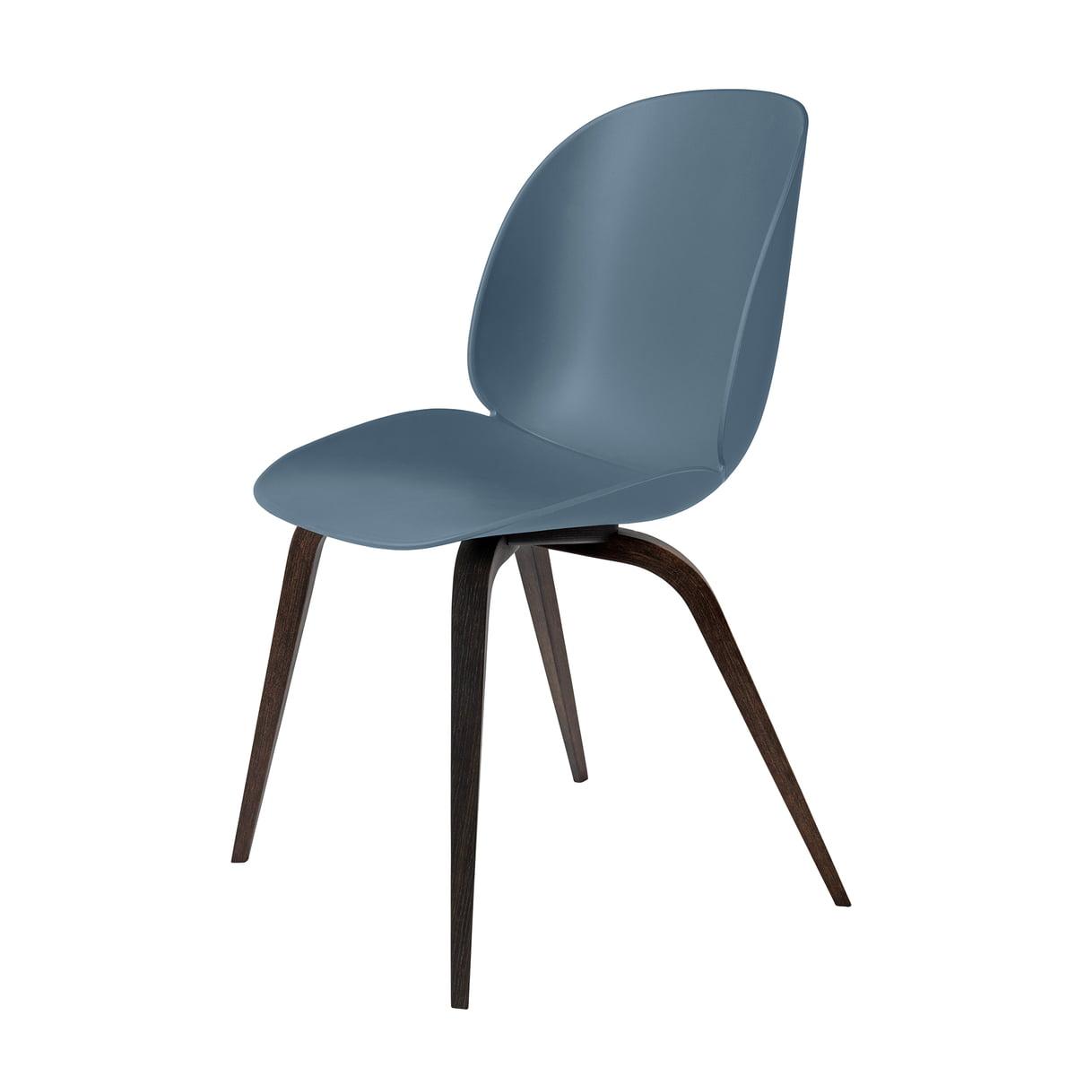 Gubi - Beetle Dining Chair, Wood Base, Eiche geräuchert / blaugrau   Küche und Esszimmer > Stühle und Hocker   Blaugrau   Gubi