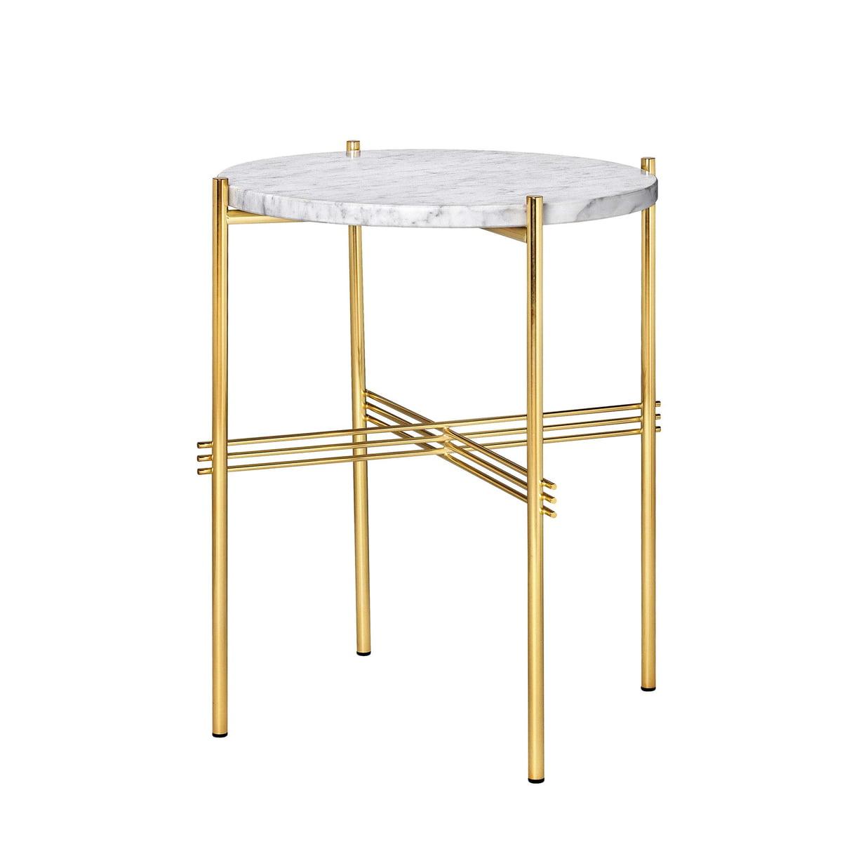 Gubi ts coffee table d 40 cm messing marmor weiss freisteller