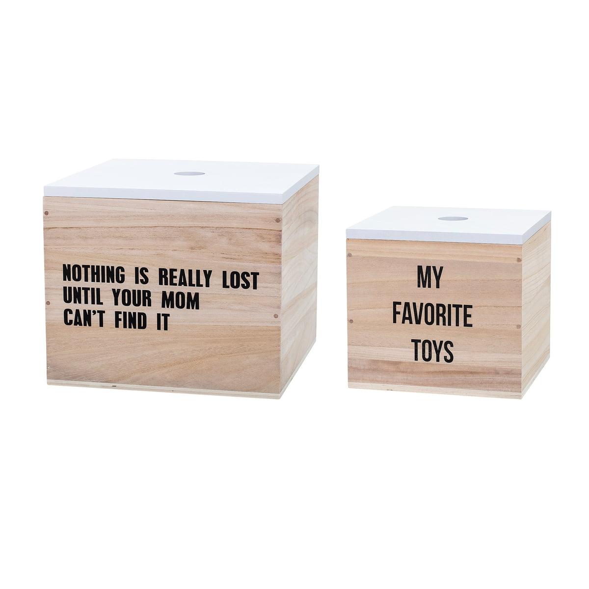 Bloomingville - Spielzeugkiste Text (2er-Set), weiß/ natur | Kinderzimmer > Spielzeuge > Spielzeugkisten | Weiß | Paulownienholz | Bloomingville