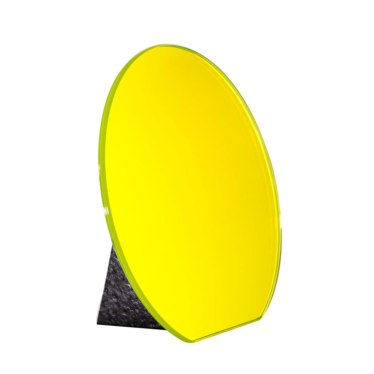 Pulpo - Dita Tischspiegel Ø 30 cm, lime yellow / Standfuß schwarz | Flur & Diele > Spiegel > Standspiegel | Gelb | Glas -  laminiert| standfuß aus stein | Pulpo