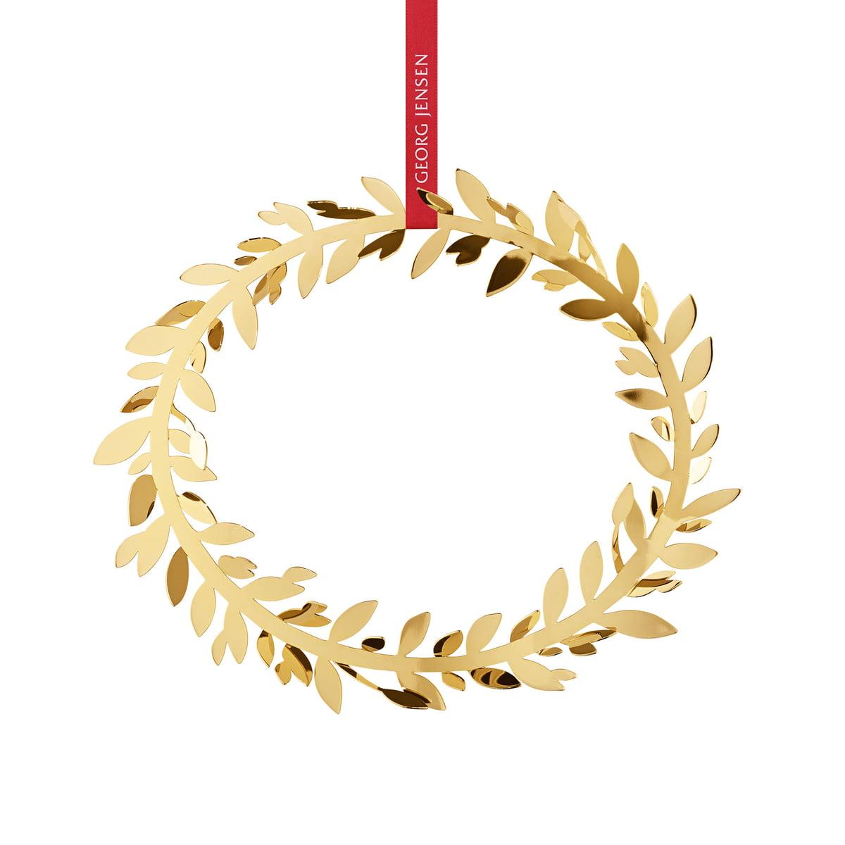 Georg Jensen - Weihnachtsschmuck Magnolia Kranz, gold | Dekoration > Dekopflanzen > Kränze | Gold | Messing mit 18 karat goldauflage | Georg Jensen