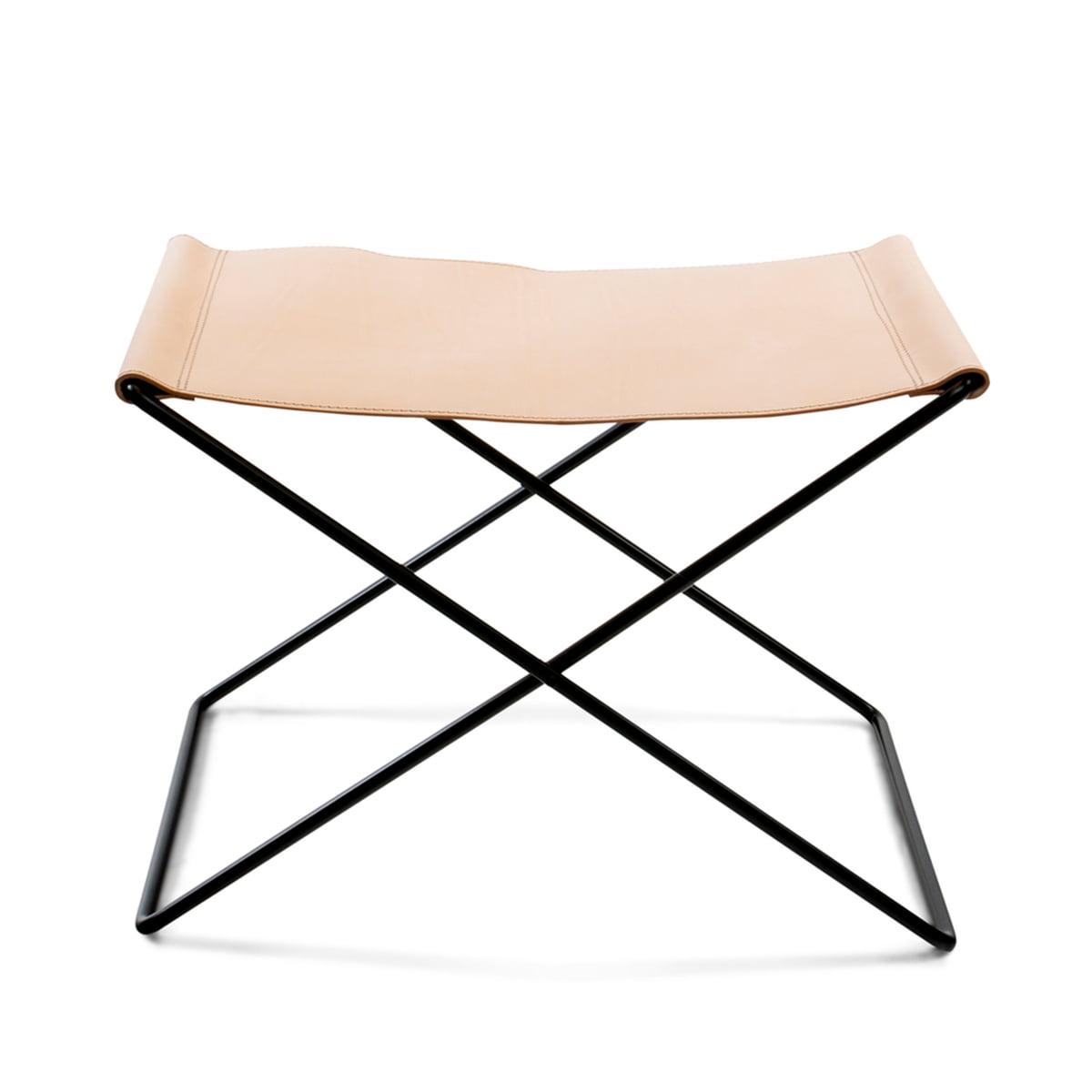 Ox denmarq ox stool stahl pulverbeschichtet schwarz leder natur