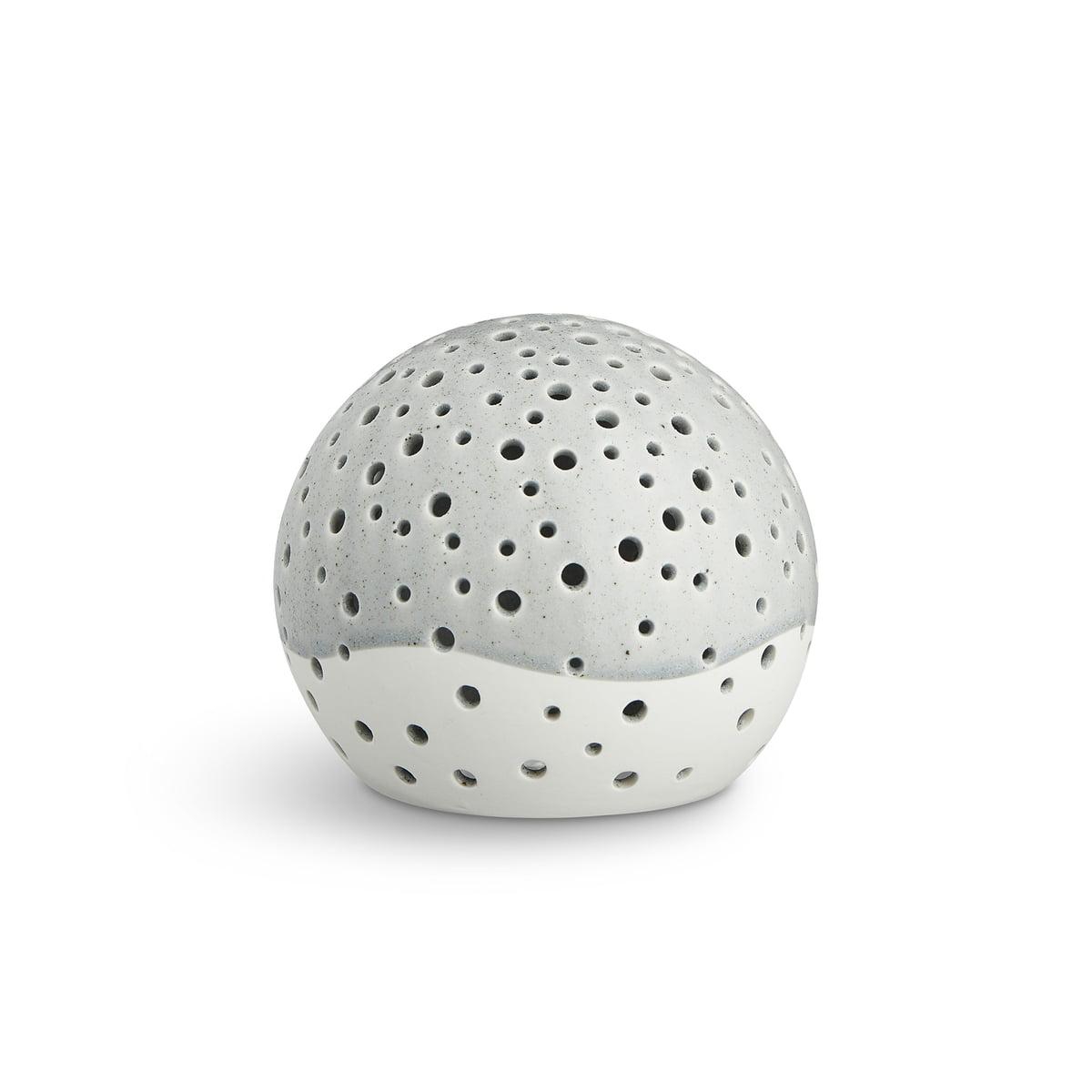 Kähler Design - Nobili Teelichtleuchter Kugel Ø 12 cm, grau | Dekoration > Kerzen und Kerzenständer > Teelichter | Schneeweiß | Keramik | Kähler Design
