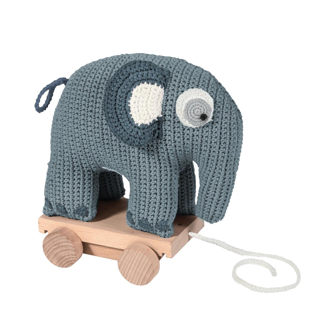 Sebra - Häkel-Nachziehtier, Elefant | Kinderzimmer > Spielzeuge | Blau | 100% baumwolle mit polyesterfüllung -  hölzerne räder | Sebra