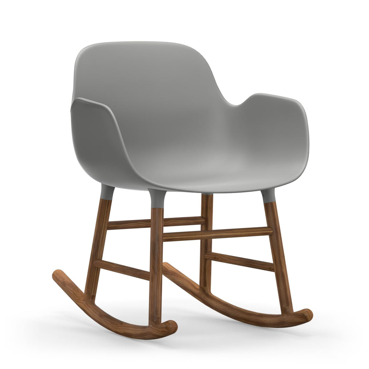 Normann Copenhagen - Form Schaukelsessel, Gestell Walnuss / grau | Wohnzimmer > Sessel > Schaukelsessel | Grau | Normann Copenhagen