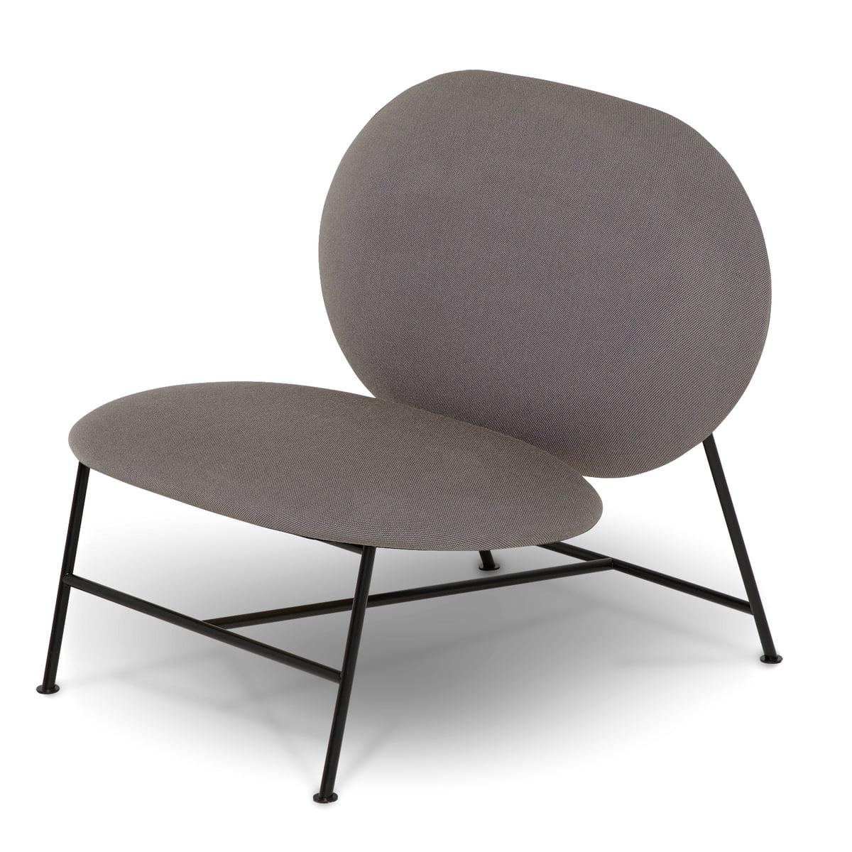 Northern - Oblong Lounge Chair, schwarz / grau (Brusvik 05) | Wohnzimmer > Sessel > Loungesessel | Hellgrau | Stahl | Northern