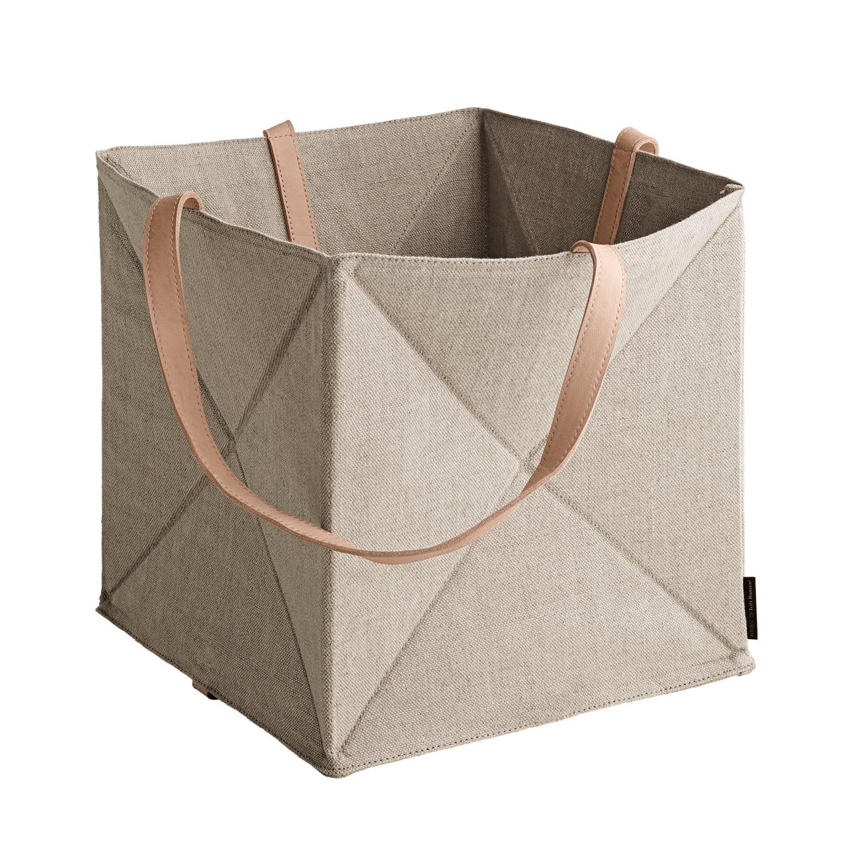 Fritz Hansen - Origami Aufbewahrungskorb H 29 cm, Leinen / Leder natur   Dekoration > Aufbewahrung und Ordnung > Korbwaren   Leinen   Fritz Hansen